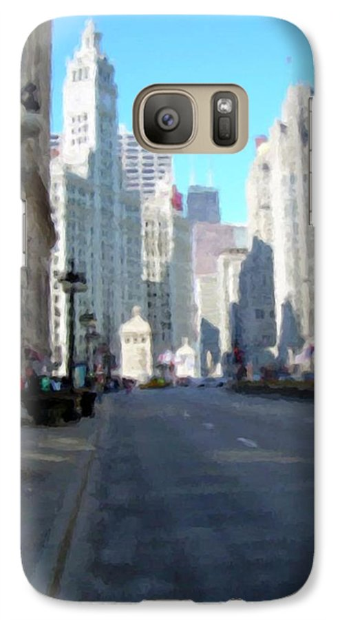 Chicago Galaxy S7 Case featuring the digital art Michigan Ave Tall by Anita Burgermeister