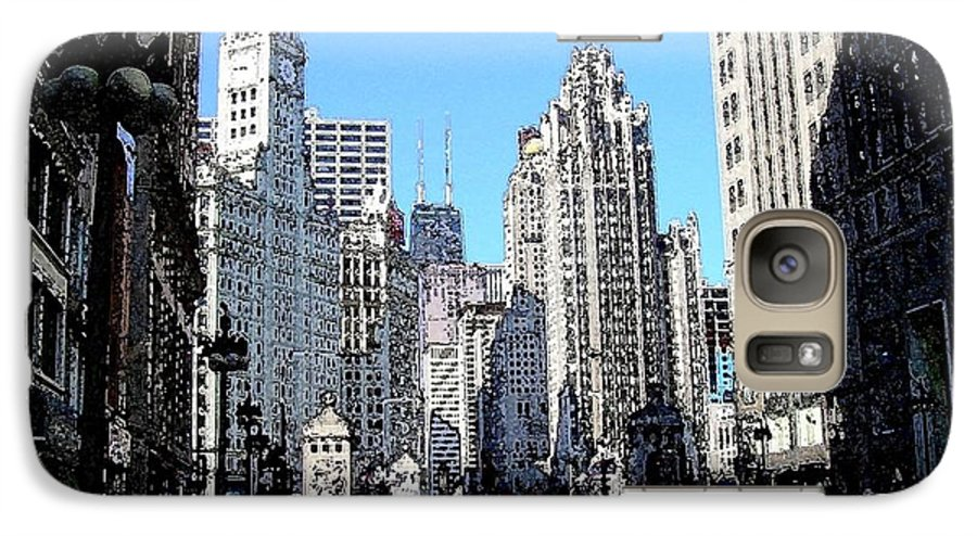 Chicago Galaxy S7 Case featuring the digital art Michigan Ave Wide by Anita Burgermeister