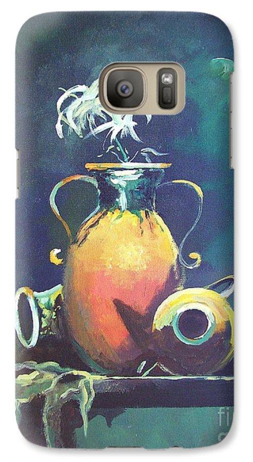 Still Life Galaxy S7 Case featuring the painting Midnight Moon by Sinisa Saratlic