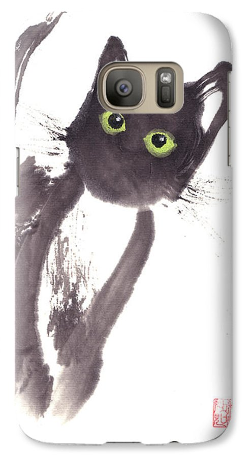 A Curious Black Kitten. This Is A Contemporary Chinese Ink And Color On Rice Paper Painting With Simple Zen Style Brush Strokes.  Galaxy S7 Case featuring the painting Midnight by Mui-Joo Wee