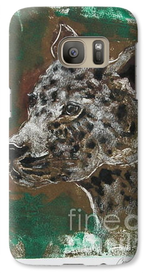 Monotype Galaxy S7 Case featuring the mixed media Midnight Prowler by Cori Solomon