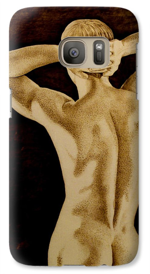 Pyrography; Sepia; Nude; Male; Back; Pointillism; Shadow; Hands; Naked; Muscles; Galaxy S7 Case featuring the pyrography Midnight Stretch by Jo Schwartz