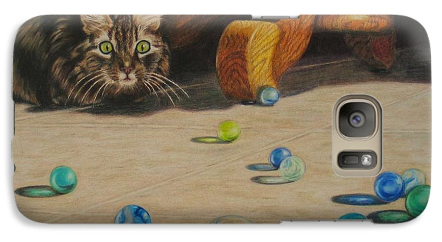 Cats Galaxy S7 Case featuring the drawing Mighty Hunter by Karen Ilari