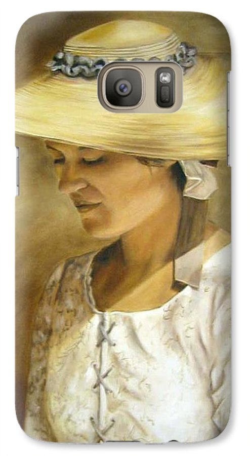 Portrait Galaxy S7 Case featuring the painting Milliners Daughter by Anne Kushnick