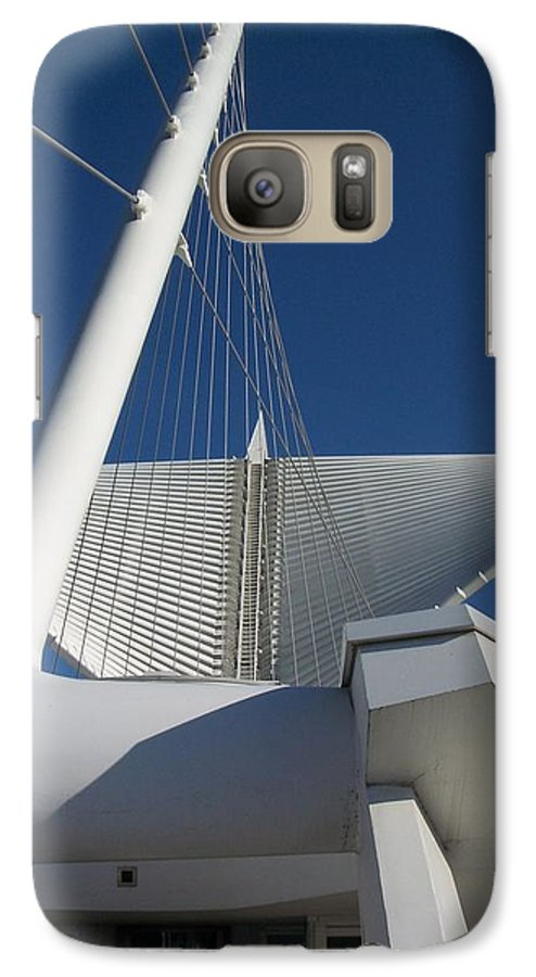 Mam Galaxy S7 Case featuring the photograph Milwaukee Art Museum Cropped by Anita Burgermeister