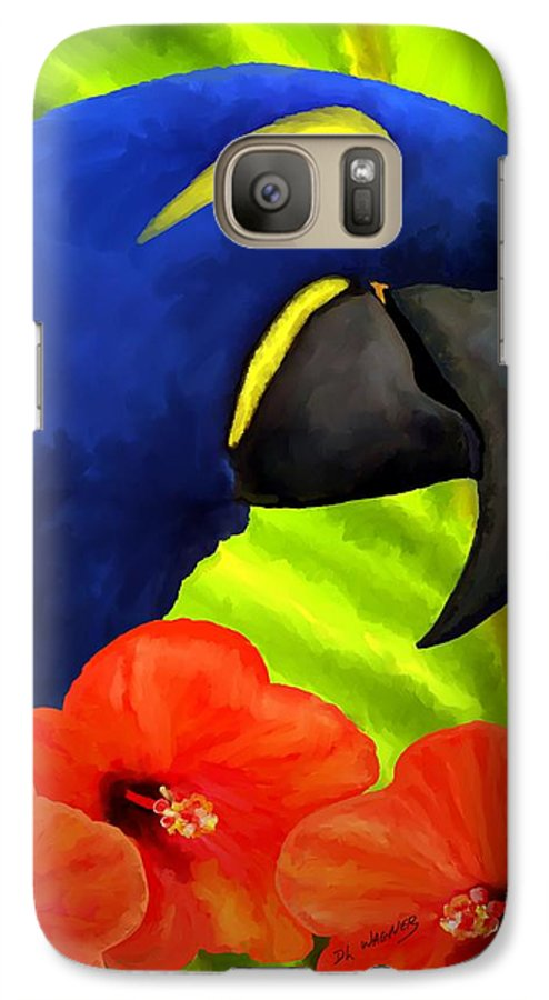 Hyacinth Macaw Galaxy S7 Case featuring the painting Mimi by David Wagner