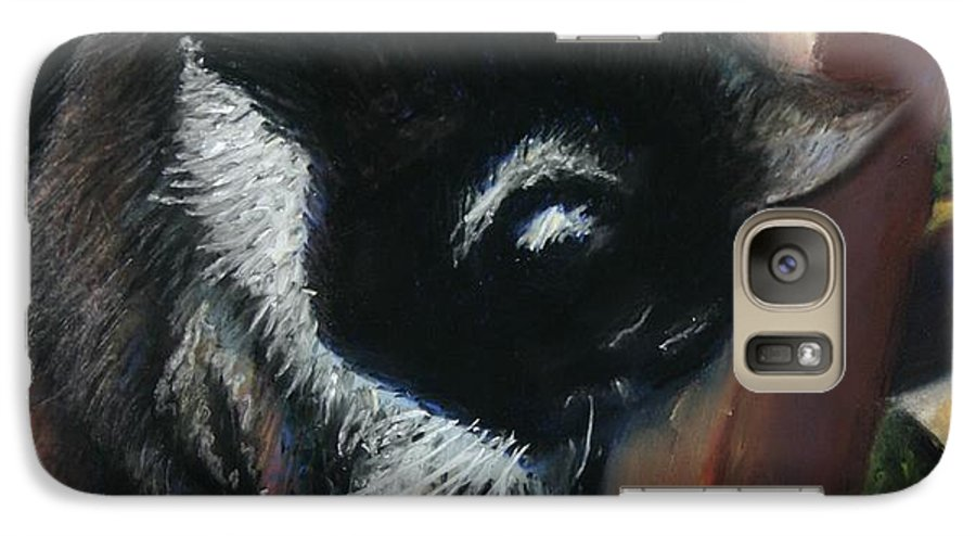 Cat Galaxy S7 Case featuring the painting Kitty Chair by Minaz Jantz
