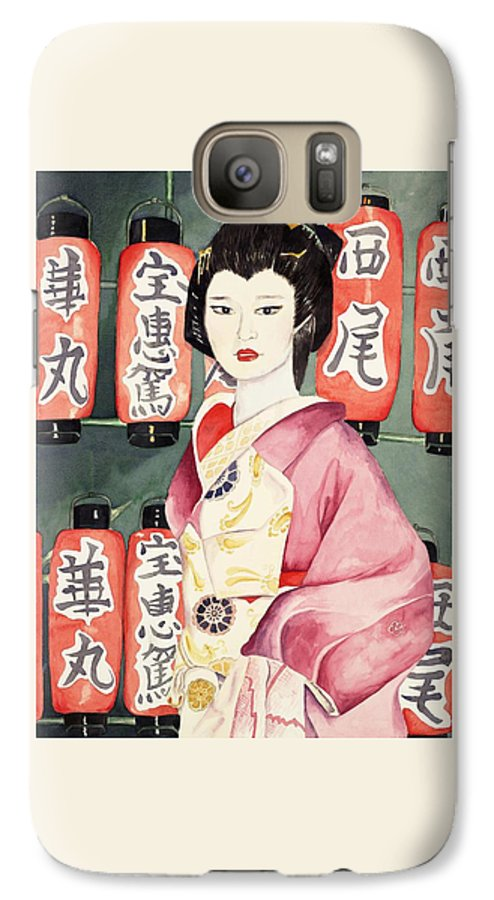 Geisha In Kimono With Red Lanterns Galaxy S7 Case featuring the painting Miss Hanamaru At Osaka Festival by Judy Swerlick
