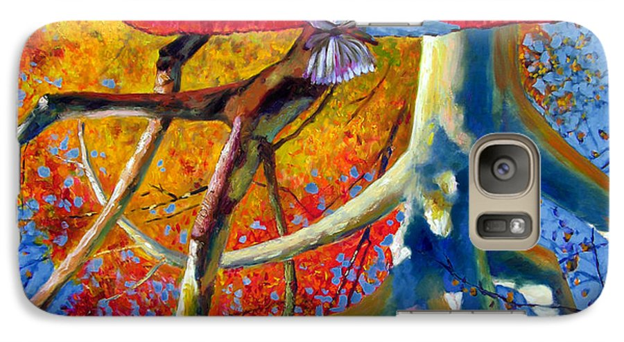 Garden Pond Galaxy S7 Case featuring the painting Missouri Sycamore Reflections by John Lautermilch