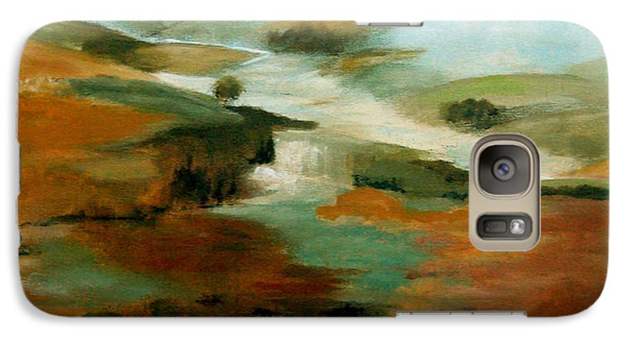 Abstract Galaxy S7 Case featuring the painting Misty Hills by Ruth Palmer