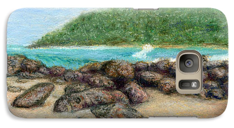 Coastal Decor Galaxy S7 Case featuring the painting Moloa'a Rocks by Kenneth Grzesik