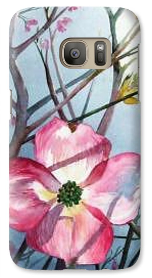 Dogwood Galaxy S7 Case featuring the painting Mom's Dogwood by Linda Marie Carroll