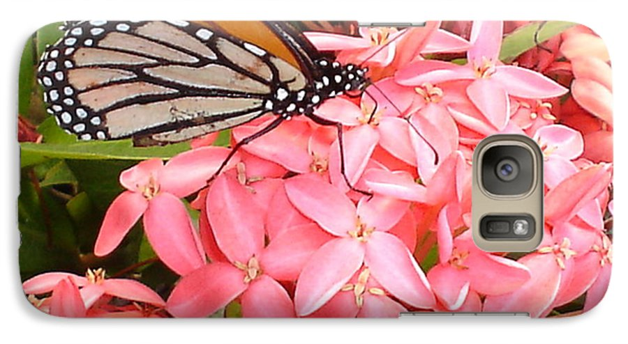 Butterfly Galaxy S7 Case featuring the photograph Monarch On Huneysuckle by Chandelle Hazen