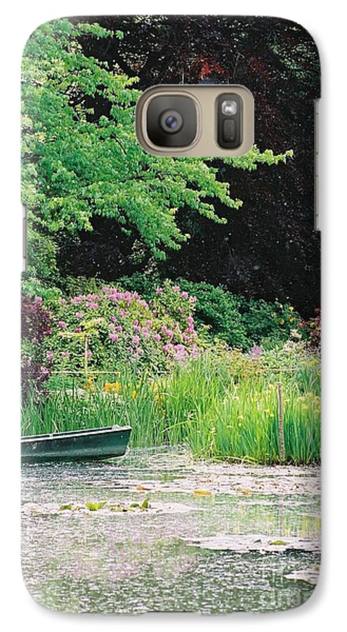 Monet Galaxy S7 Case featuring the photograph Monet's Garden Pond And Boat by Nadine Rippelmeyer