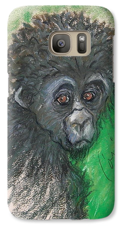 Monkey Galaxy S7 Case featuring the drawing Monkey Business by Cori Solomon