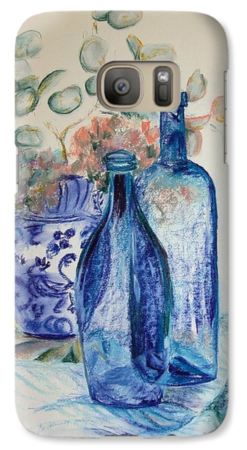 Still Life Galaxy S7 Case featuring the drawing Monnaie Bleue by Muriel Dolemieux
