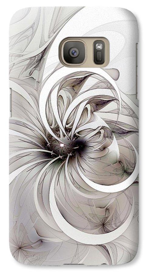 Digital Art Galaxy S7 Case featuring the digital art Monochrome Flower by Amanda Moore