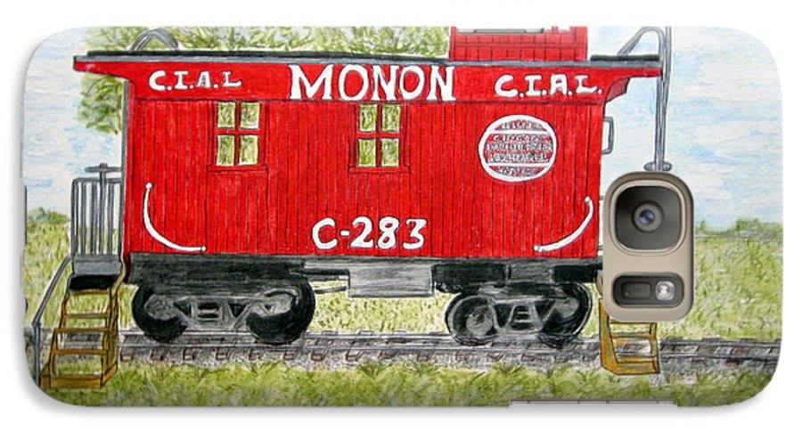 Monon Galaxy S7 Case featuring the painting Monon Wood Caboose Train C 283 1950s by Kathy Marrs Chandler