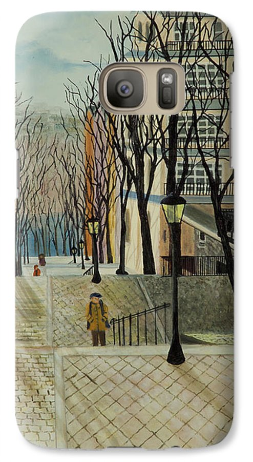 Paris Galaxy S7 Case featuring the painting Montmartre Steps In Paris by Susan Kubes