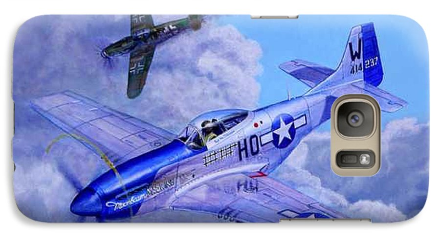 Capt Bill Wisner Shoots Down Two Bf-109s On November 2nd 1944 Galaxy S7 Case featuring the painting Moonbeam Mcswine by Scott Robertson