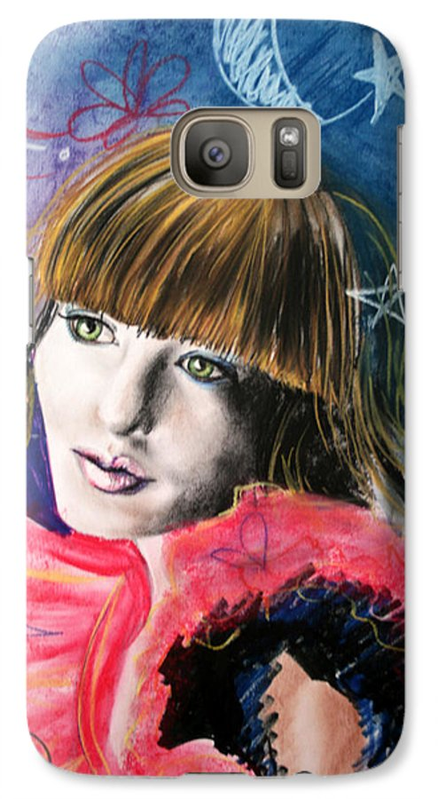 Portrait Galaxy S7 Case featuring the drawing Moonlight Glam by Maryn Crawford