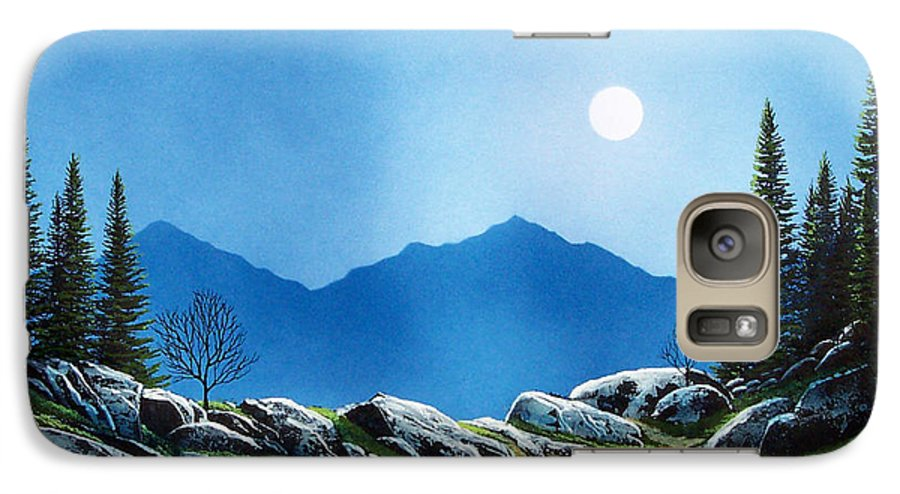 Landscape Galaxy S7 Case featuring the painting Moonlight Hike by Frank Wilson