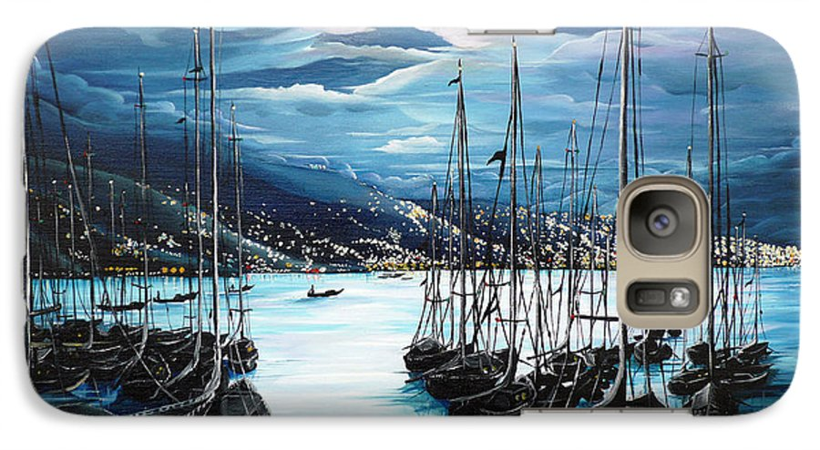 Ocean Painting  Caribbean Seascape Painting Moonlight Painting Yachts Painting Marina Moonlight Port Of Spain Trinidad And Tobago Painting Greeting Card Painting Galaxy S7 Case featuring the painting Moonlight Over Port Of Spain by Karin Dawn Kelshall- Best