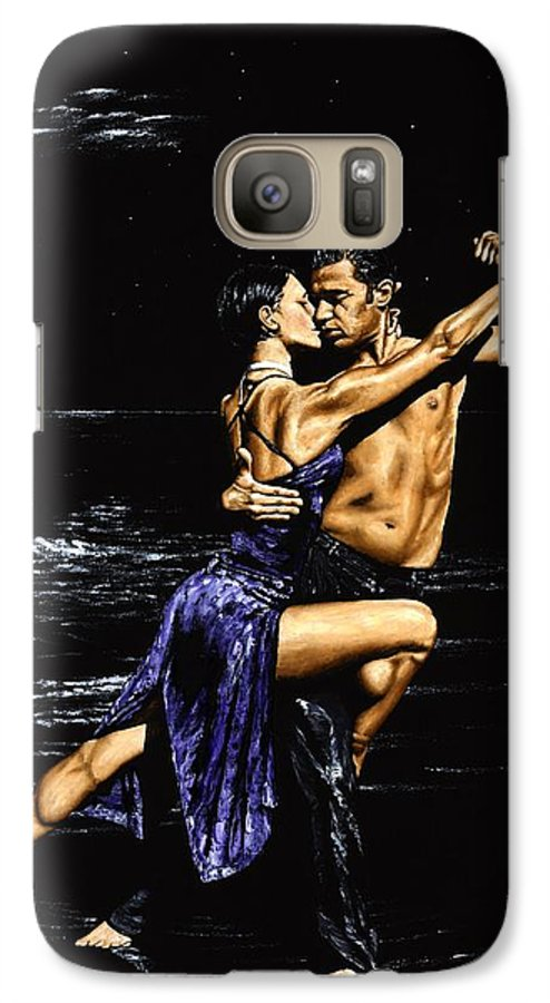 Moonlight Galaxy S7 Case featuring the painting Moonlight Tango by Richard Young