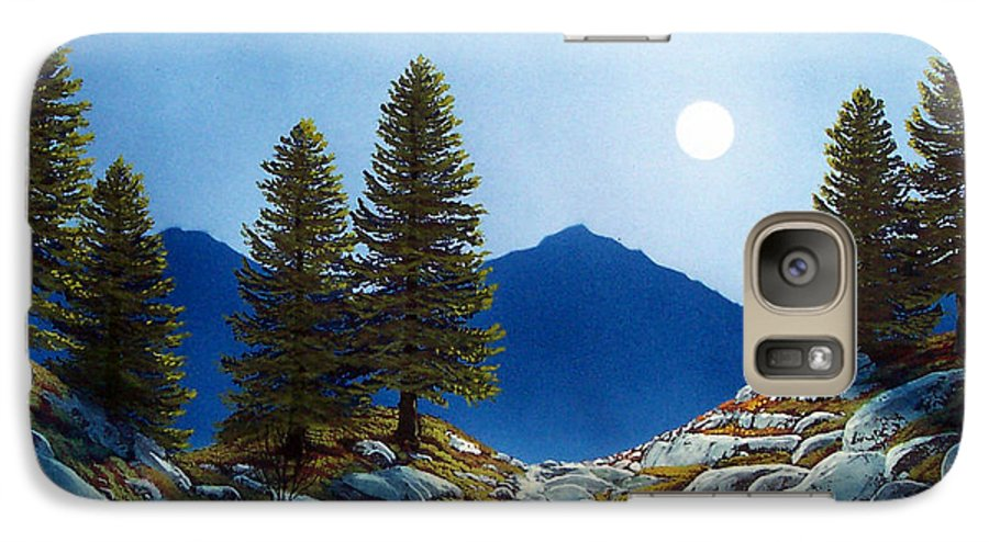 Landscape Galaxy S7 Case featuring the painting Moonlit Trail by Frank Wilson