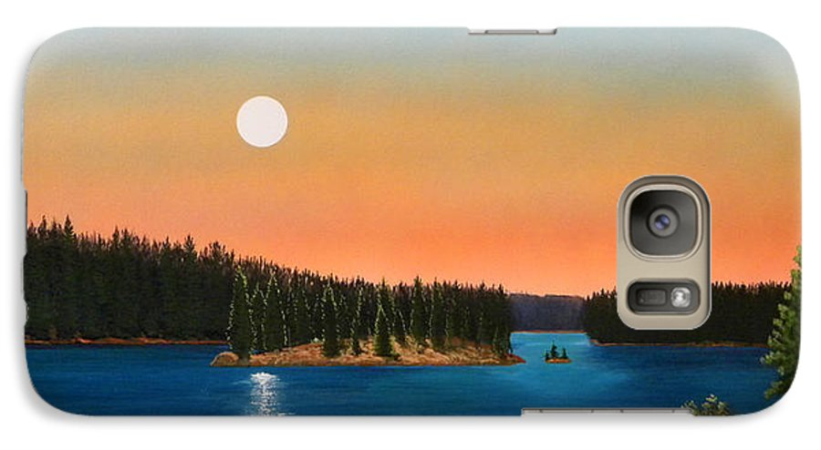 Landscape Galaxy S7 Case featuring the painting Moonrise Over The Lake by Frank Wilson