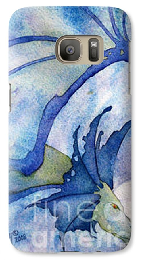 Dragon Galaxy S7 Case featuring the painting Moonstone Dragon - Sold by Wendy Froshay
