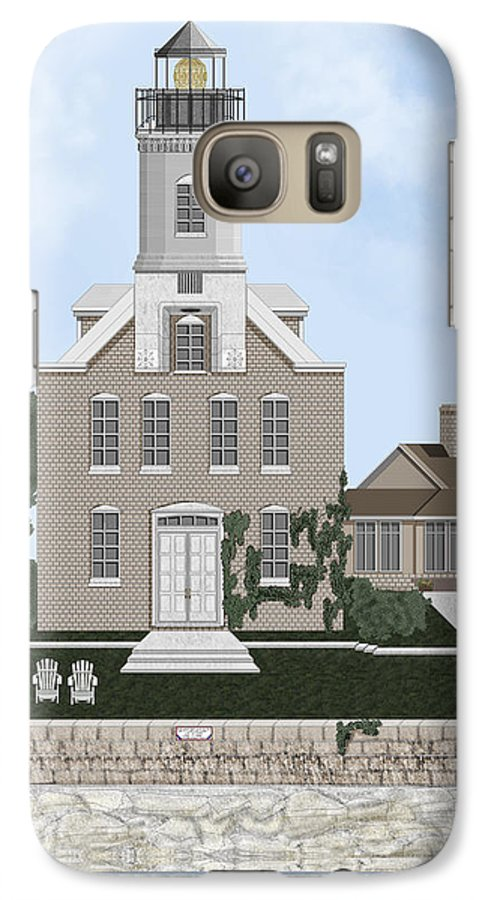 Lighthouse Galaxy S7 Case featuring the painting Morgan Point Mystic Harbor Conn by Anne Norskog