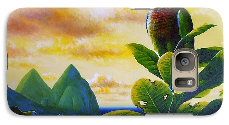 Chris Cox Galaxy S7 Case featuring the painting Morning Glory - St. Lucia Parrots by Christopher Cox