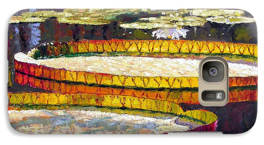 Water Lilies Galaxy S7 Case featuring the painting Morning Glow by John Lautermilch