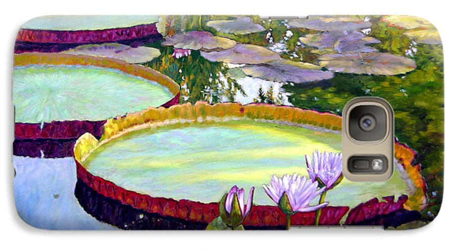 Garden Pond Galaxy S7 Case featuring the painting Morning Highlights by John Lautermilch