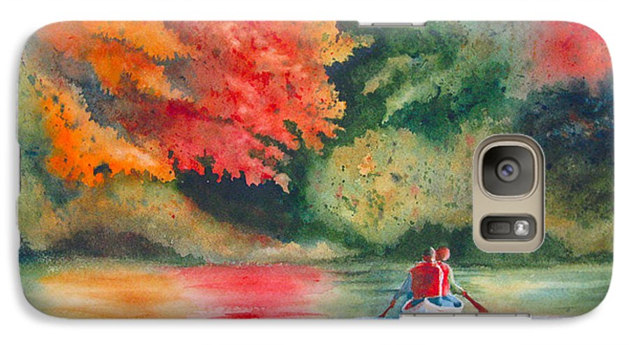Lake Galaxy S7 Case featuring the painting Morning On The Lake by Karen Stark