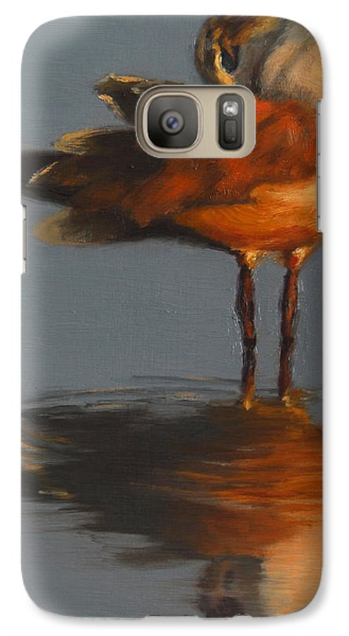Bird Galaxy S7 Case featuring the painting Morning Reflection by Greg Neal
