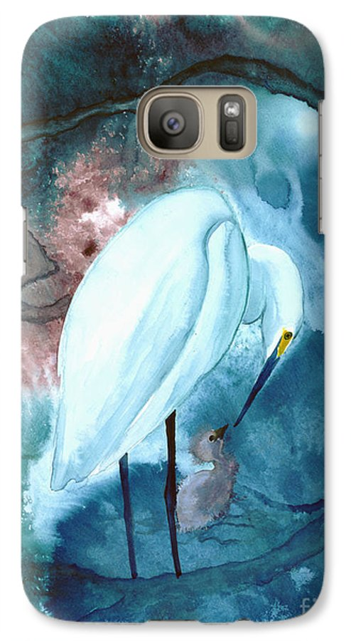 A Mother Egret With Her Chick- A Watercolor Painting Galaxy S7 Case featuring the painting Mother And Child by Mui-Joo Wee