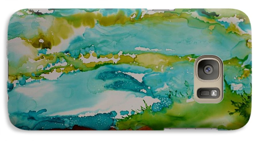 Wave Galaxy S7 Case featuring the mixed media Mother Ocean by Susan Kubes