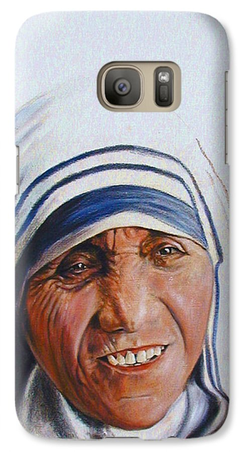 Mother Teresa Galaxy S7 Case featuring the painting Mother Teresa by John Lautermilch