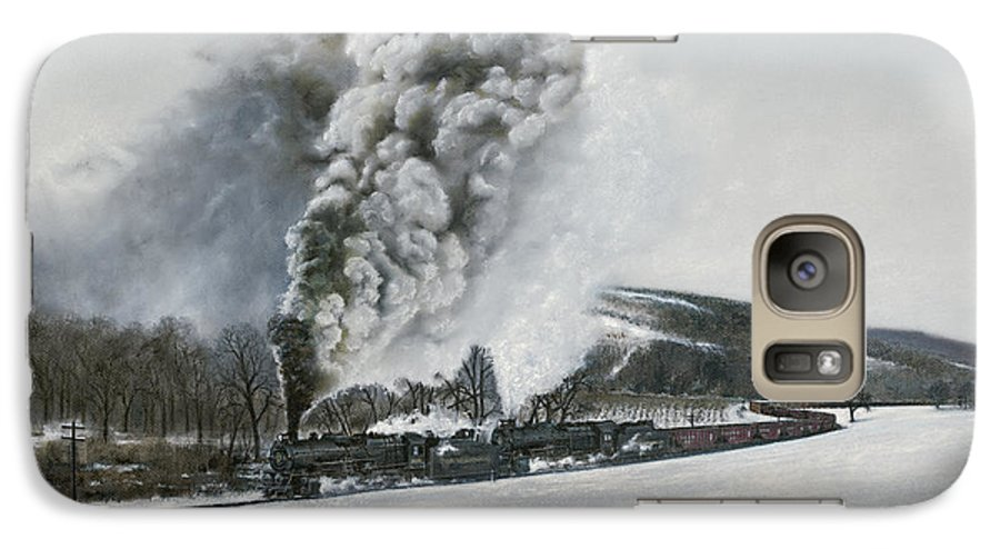 Trains Galaxy S7 Case featuring the painting Mount Carmel Eruption by David Mittner