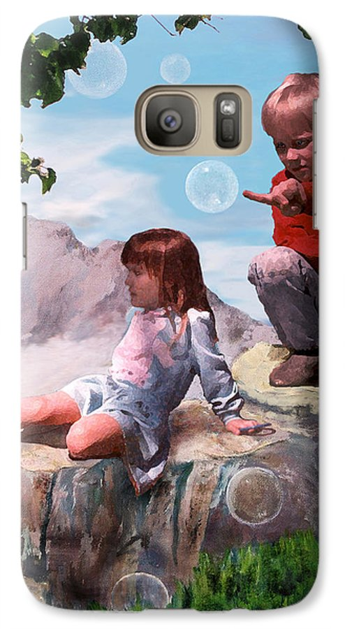 Landscape Galaxy S7 Case featuring the painting Mount Innocence by Steve Karol