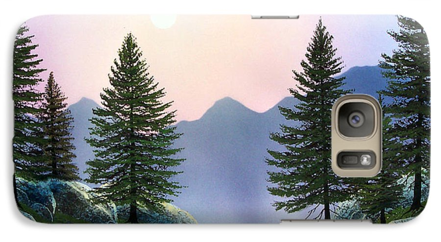 Landscape Galaxy S7 Case featuring the painting Mountain Firs by Frank Wilson