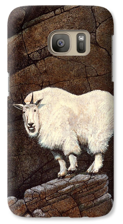 Wildlife Galaxy S7 Case featuring the painting Mountain Goat by Frank Wilson