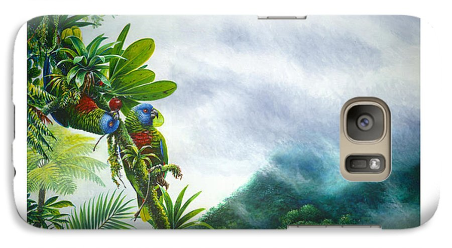 Chris Cox Galaxy S7 Case featuring the painting Mountain High - St. Lucia Parrots by Christopher Cox