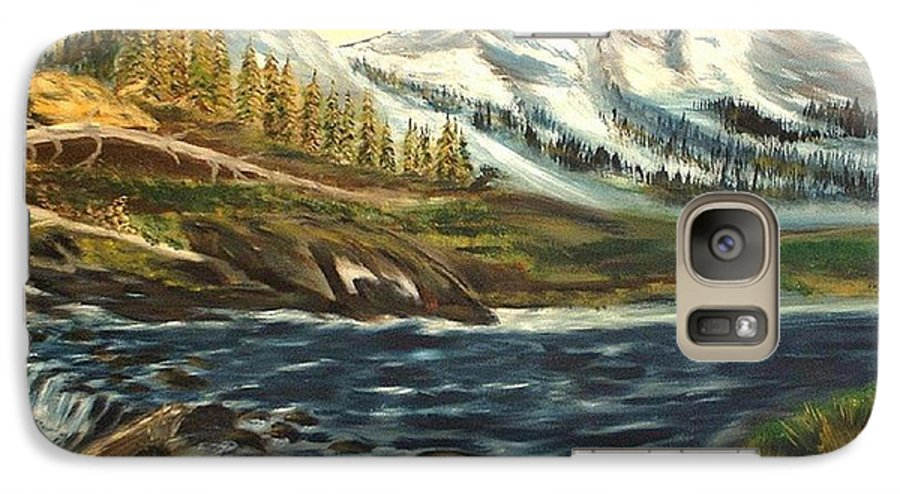 Landscape Galaxy S7 Case featuring the painting Mountain River by Kenneth LePoidevin