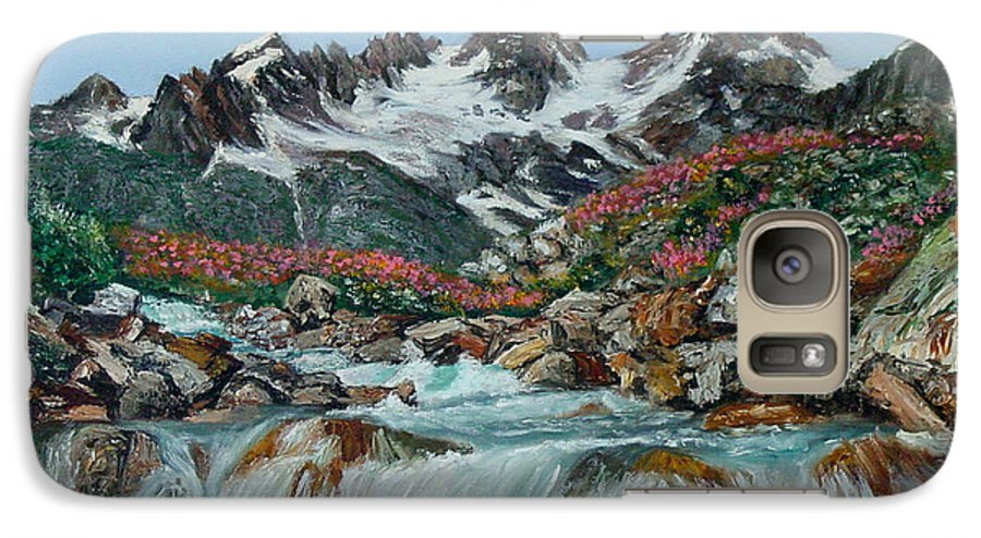 Mountain Galaxy S7 Case featuring the painting Mountain Stream by Quwatha Valentine