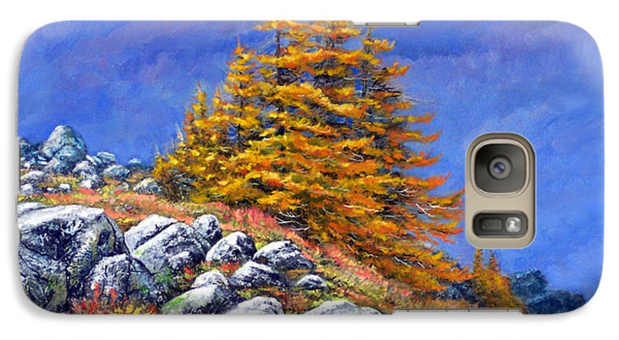 Mountains Galaxy S7 Case featuring the painting Mountain Tamaracks by Frank Wilson