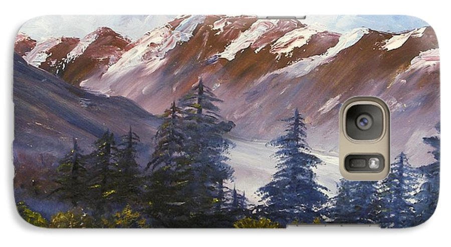 Oil Painting Galaxy S7 Case featuring the painting Mountains I by Lessandra Grimley