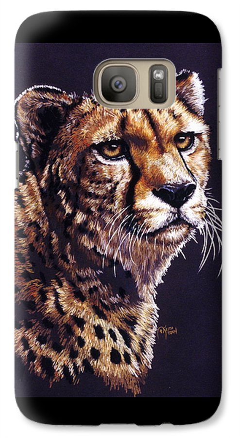 Cheetah Galaxy S7 Case featuring the drawing Movin On by Barbara Keith